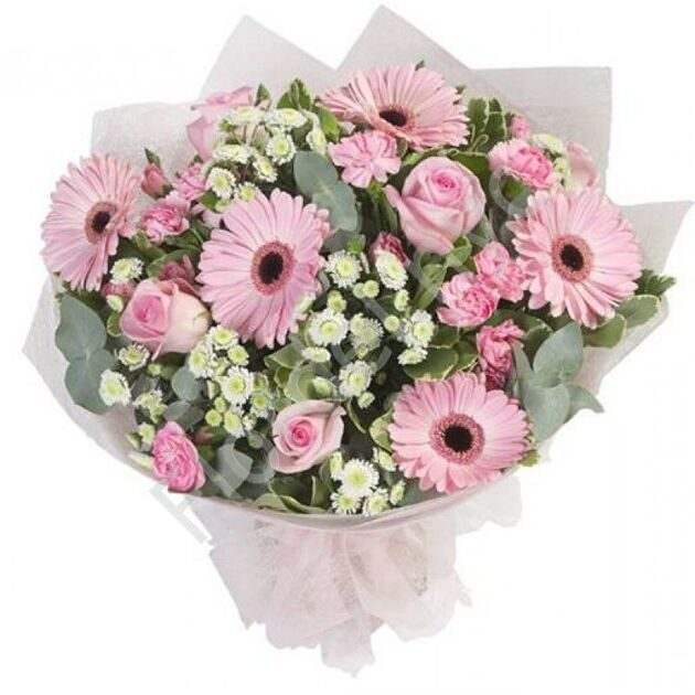 Bouquet with pink gerberas and roses