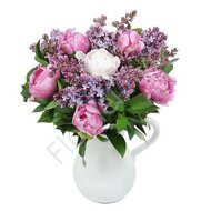Bouquet of peonies and lilac