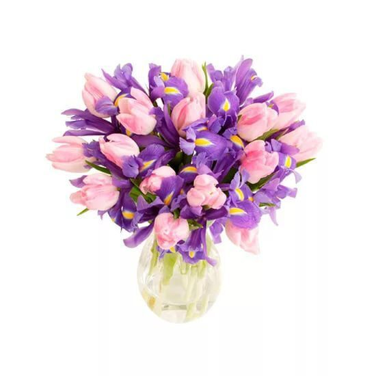 Bouquet of irises with pink tulips