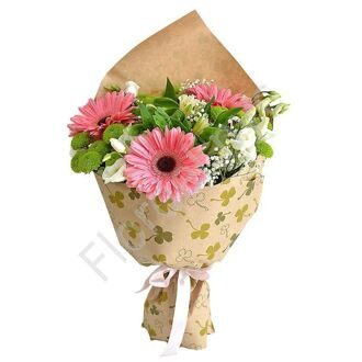 Bouquet with gerberas and chrysanthemums