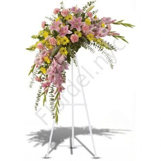 Funeral spray with lilies + standing
