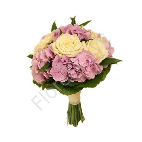 Deluxe package - Roses with pink hydrangea