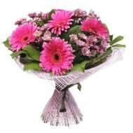 Bouquet of shrub chrysanthemums and gerberas