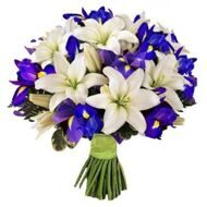 White lilies and blue irises