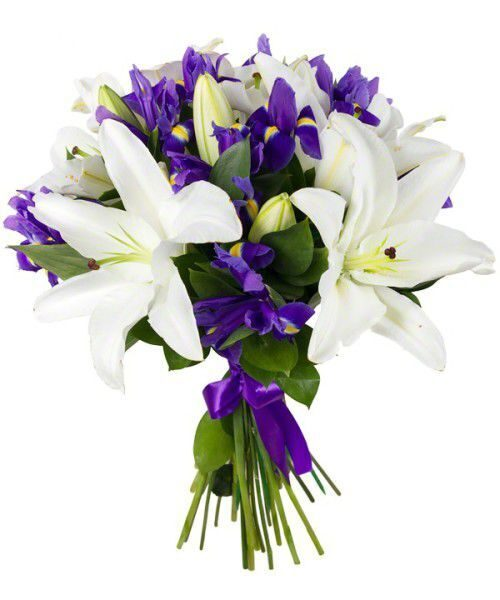 Bouquet of irises and lilies