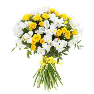 Bouquet of white irises and yellow roses