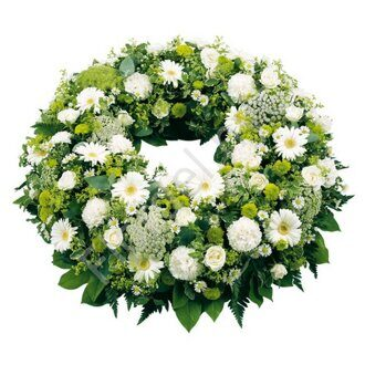 Greenish funeral wreath + standing