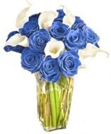 Bouquet of callas with blue roses