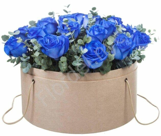 Blue roses with eucalyptus