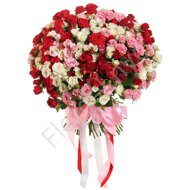 Pink-red-white shrub roses bouquet