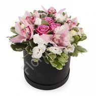 Orchids with roses and eustoma