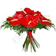 Red anthurium bouquet