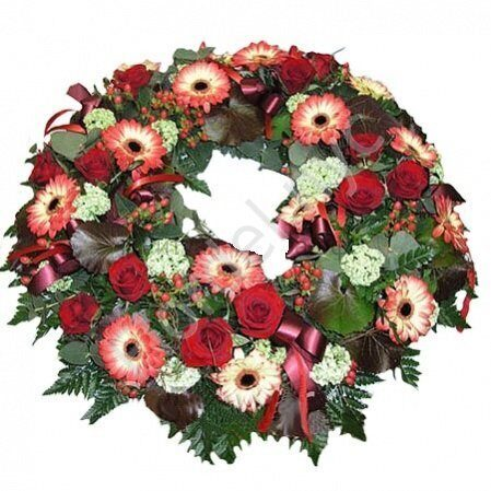 Large wreath with gerberas and roses