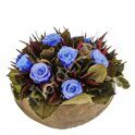 Arrangement with preserved blue roses