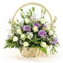 Basket of lisianthus with greens