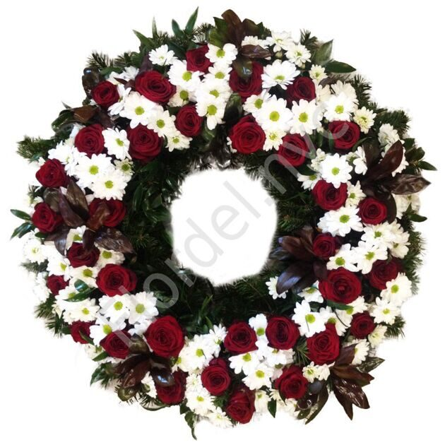 Funeral wreath with red roses