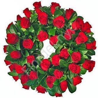 Traditional red rose wreath + standing
