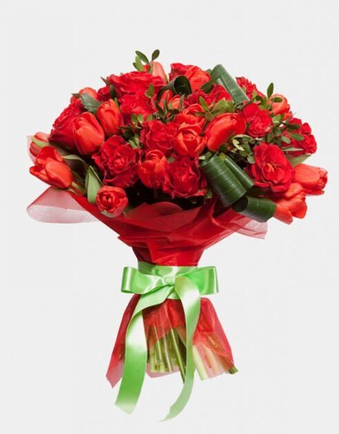Bouquet of red tulips and roses