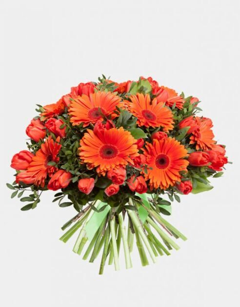 Bouquet of tulips and red gerberas