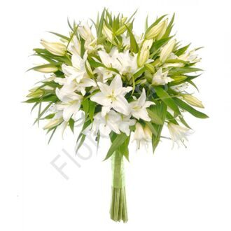 White lilies in a bouquet