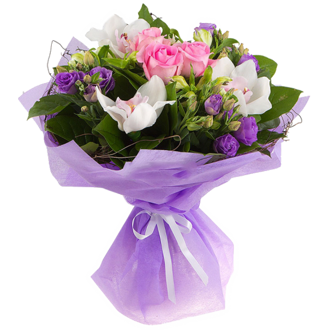 Bouquet of orchids and lisianthus