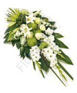 White funeral bouquet with gladiolus