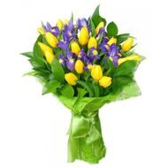 Composition of irises and yellow tulips