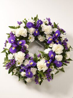 Blue sympathy wreath + standing