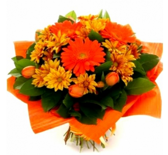 Chrysanthemums and orange gerbera