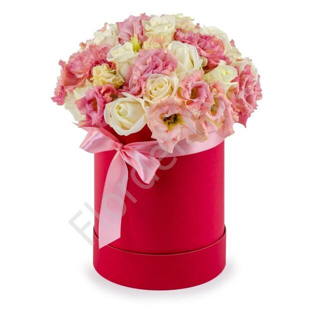 Red box with roses and eustoma